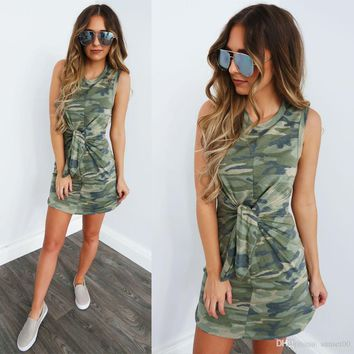 Best selling dress sexy round neck tied knot waist camouflage dress ladies column casual dress summer