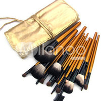 Gorgeous Golden Brush Bag With 20 Pieces Makeup Brushes -  Milanoo.com