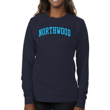Northwood University of Michigan Timberwolves Ladies Basic Arch Long Sleeve Slim Fit T-Shirt - Navy Blue