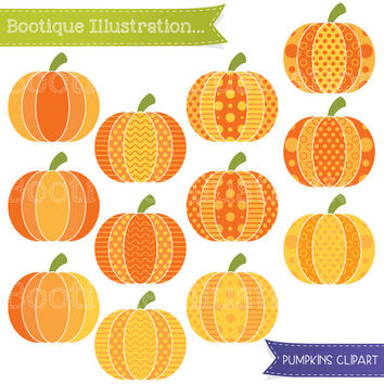 Patterned Pumpkins Digital Clipart. Halloween Pumpkins Clip Art. Halloween Clip Art. Pumpkins Vectors. Halloween Clipart. Halloween Digital