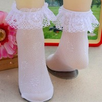 2017 Comfy Cotton Baby Girls Socks Infant Toddler Breathable Lace Frilly Solid Socks