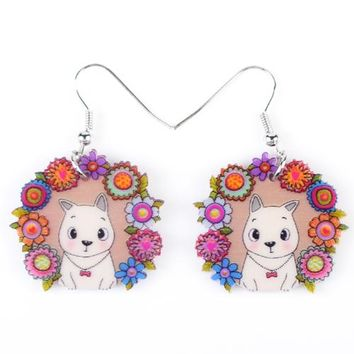 Drop Dog Earrings Multi Long Acrylic Brand New Bijoux Animal Jewelry Cartoon Cute Girls Women Earrings Accessories