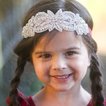 Evaline Wine Crystal Jewel Headband