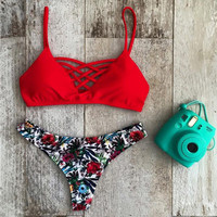 2016 Womens Floral Print Sling Criss Cross Triangle Bikini Set Swimwear Swimsuit Brazilian Summer Beach Bathing Suit Two Pieces