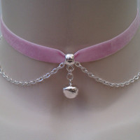 Mini Silver Plated JINGLE BELL With Chain Baby PINK Velvet Ribbon Choker Necklace... or choose another colour velvet, hand made to fit :)