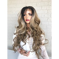 """360 Free Parting Balayage Ombre Brown Blonde SWISS Lace Front Wig 