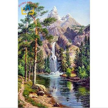 HOME BEAUTY oil paint painting by numbers diy picture waterfall drawing on canvas oil painting by hand coloring landscape GX7364