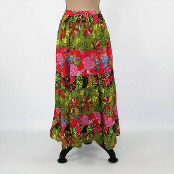 Boho Maxi Skirt Long Hippie Skirt XL Full Skirt Colorful Cotton Skirt Hippie Clothes Boho Clothing Plus Size Clothing 90s Vintage Clothing