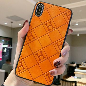 Hermes Fashion New More Letter Leather Protective Cover IPhone Phone Case Orange
