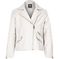 River Island Girls cream leather-look zip biker jacket