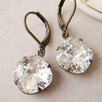 Rustic Bridesmaid Earrings Crystal Drop Old Hollywood Vintage Style Wedding Jewelry