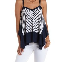 White/Blue Strappy Striped Trapeze Tank Top by Charlotte Russe