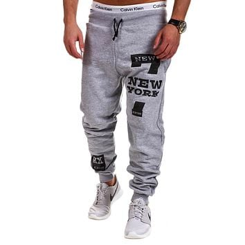 Mens printing Tights Skinny Joggers Casual exercise Pants, Thin Straight Linen Pants Cuffs Loose Plus Size M-2XL