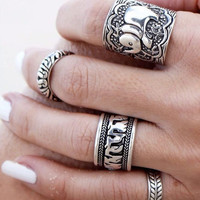 4PCS Vintage Punk Ring Sets Carved Antique Gold Silver Elephant Totem  Lucky Rings Anillos Anillos for Women Boho Beach Jewelry