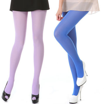 Women 80D OPAQUE Nylon TIGHTS Pantyhose Bright Color Hosiery Large Size High Quality S M L