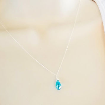 March Birthstone Necklace \ Aquamarine Briolette Necklace \ Aquamarine Drop sterling silver necklace