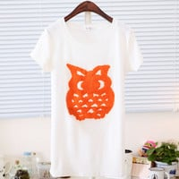 Spring Cute Owl Cut Print Short Sleeves Tee Multiple Colors