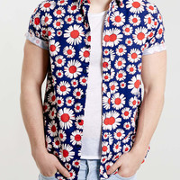 Navy Daisy Print Short Sleeve Shirt - New This Week - New In - TOPMAN