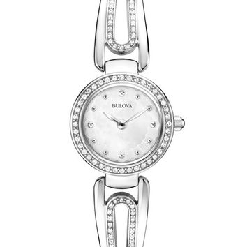 Bulova Ladies Crystal Bangle Dress Watch - Stainless - Mother of Pearl Dial