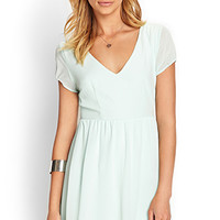 Puff Sleeve Chiffon Dress