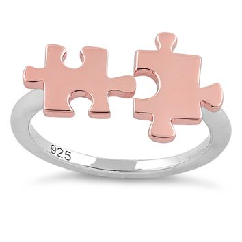 Rose Gold Jigsaw Puzzle Pieces Ring