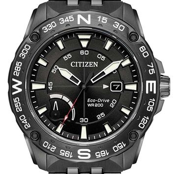 Citizen Eco-Drive Black Stainless Steel Chronograph Watch AW7047-54H