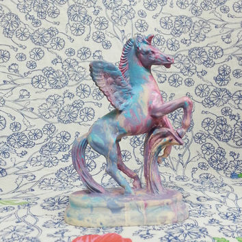 Vintage Unicorn- Figurine-   Room Decor- Home Decor- Boho Decor- Collectible- Baby Gift- Nursery Decor- Dorm Decor- Bohemian- Hand Painted
