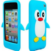 Bastex Silicone Animal Case for Apple Ipod Touch 4th Generation - Baby Blue 3d Penguin Cover