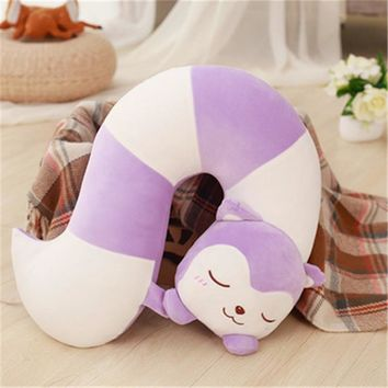 Creative cartoon fox tail feather soft cotton pillow office nap U-shaped travel pillow to send friend a gift of dual-use comfort