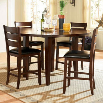 Homelegance Ameillia 5 Piece Drop Leaf Round Counter Height Table Set