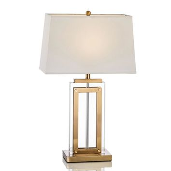 Crystal Gold Table Lamps With Fabric Shade