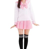 Ninimour Japan School Uniform Dress Cosplay Costume Anime Girl Lady Lolita Large, Long pink
