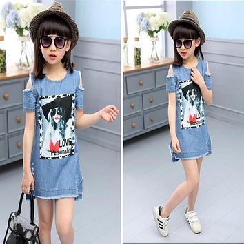 Children Dresses For Girls Denim Dress Strapless Dress Pattern Girls Clothing Short Sleeve Child Clothes Denim T-Shirts