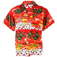 Hawaiian Aloha Shirt Coconut Ship ISLE Beach Sea View Red S ha242r