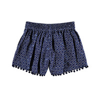 Pom-Trimmed Tile Print Shorts (Kids)