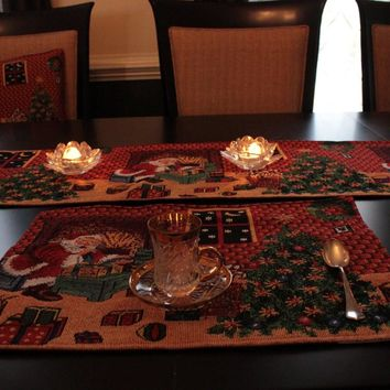8 Piece Last Minute Table Set, 2 Table Runners, 2 Cushion Covers, and 4 Placemats