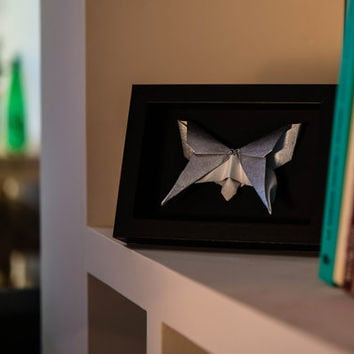 Silver colored origami butterfly in a black glass wood frame / Interior design / Ethnic, Japanese, Curiosity Cabinet