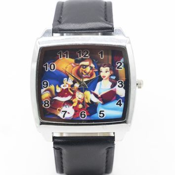 Cartoon Children Beauty and the Beast Watch Fashion Lovely Cute Kids Watches for Student Boy Girl Leather Sports Clock saat