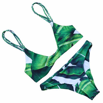PINKCOSER  Jade Leaves Bikini Set