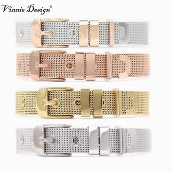 Vinnie Design Jewelry New Collection Stainless Steel Mesh Bracelet for Slide Charms Silver Rose Gold Black Color