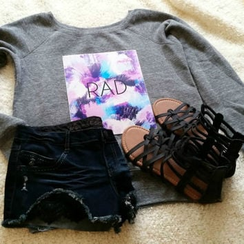 Rad quote off shoulder sweatshirt sweater for tween girls, teen girls, and ladies