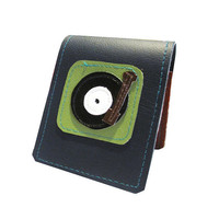 Turntable  Badge Style Mini Wallet NavyBlue by QuietDoing on Etsy