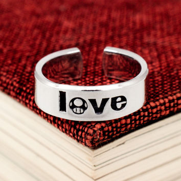 Mario Love Ring - 1UP - Video Game Jewelry - Classic Gaming - Adjustable Aluminum Cuff Ring