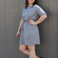 Knit Fit & Flare Dress with Floral Crochet