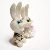 Felt bunny - Valentine's day - needle felted rabbit - wedding cake topper