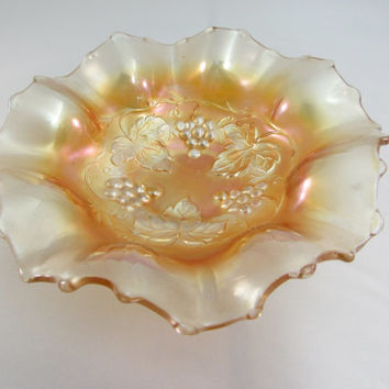 Dugan Golden Grape Bowl | Marigold Carnival Glass | Ruffled