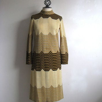 Vintage 1960s Chevron Dress Black Ochre Fine Jersey Knit Shift Dress 12