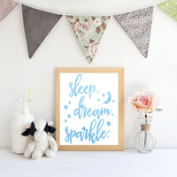 Sleep dream sparkle print,  art print,  poster for bedroom, nursery, apartment, or home decor