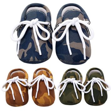 Baby Shoes PU Leather Camouflage Shoes For Girls Kids Newborn Boys Army Green Blue Bro