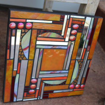 Stained glass mosaic wall art, art glass mosaic, glass mosaic wall art, glass art, orange mosaic wall art, stained glass mosaic
